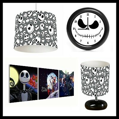 NIGHTMARE BEFORE CHRISTMAS (310) - Bedroom - Lampshade, Lamp, Clock & Pictures