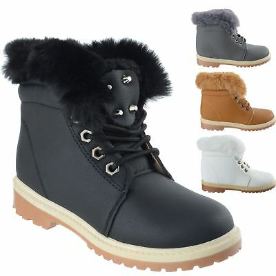 Girls Kids Flat Winter Warm Lace Up Childrens Fashion Combat Ankle Boots Size