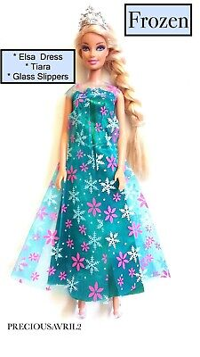 Brand new barbie doll clothes Frozen Elsa dress outfit wedding evening princess