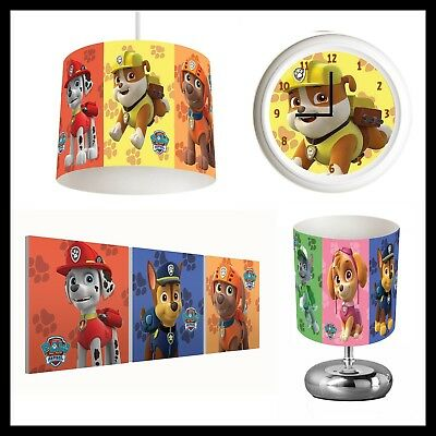 PAW PATROL (470) - Boys Bedroom - Lampshade, Lamp, Clock & Pictures