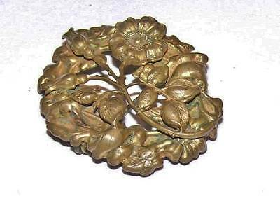 Antique Early 1900's Victorian Art Nouveau Brass Sunflower Flower C Clasp Brooch