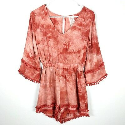 3ad276da3e1 Sadie   Sage Womens Romper Size Small Red Rust Tie Dye Pompom Trimmed Rayon