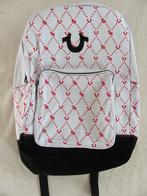 True Religion Unisex Backpack -Monogram Print -White with Red- NWT- Retail   149 e2a37ce9fd3c1