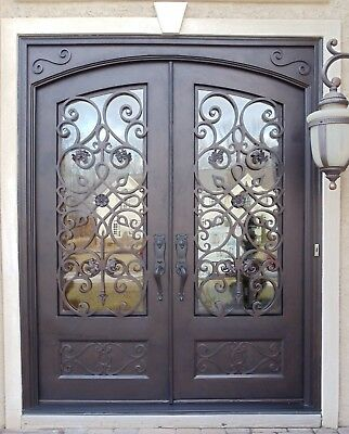 """Model 106 Wrought Iron Entry Door 61.5""""W x 81""""H Choice Of Glass Includes Handles"""