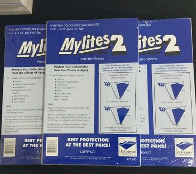 150 E. Gerber Mylites 2 Mil Mylar  Silver & Golden Age Comic Book Sleeves 775M2