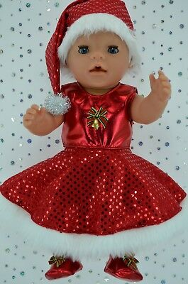 "Play n Wear Doll Clothes 17"" Baby Born CHRISTMAS CIRCLE DRESS~XMAS HAT~BOOTIES"