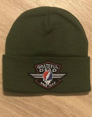 GRATEFUL DEAD Beanie Embroidered Skull Patch Military Rock Band Punk Winter Hat