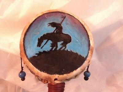 native american hand painted rawhide/mediation rattle drum by local artist