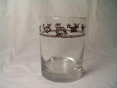 Vtg Western Style Cattle Brands Whiskey Glass Finished Pontil Quality Glassware