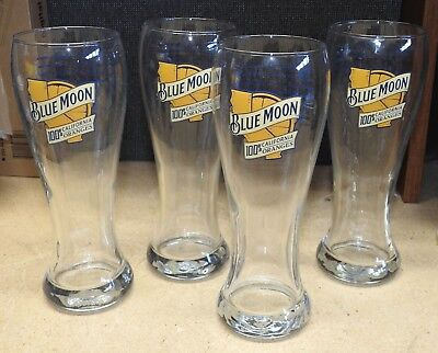 NEW 12 oz  BLUE MOON 100% California Oranges Pilsner Ale Beer Glass set of 4