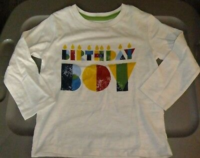 NWT Boys 2T BIRTHDAY BOY Shirt Long Sleeves Ivory Colorful Candles