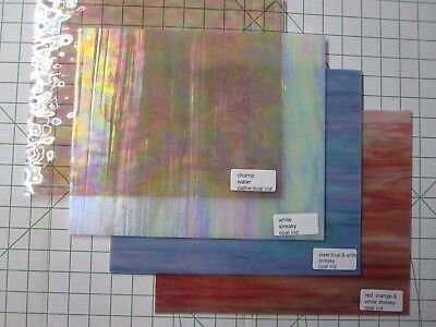"""Iridescent Stained Glass Sheets 12"""" by 10"""""""