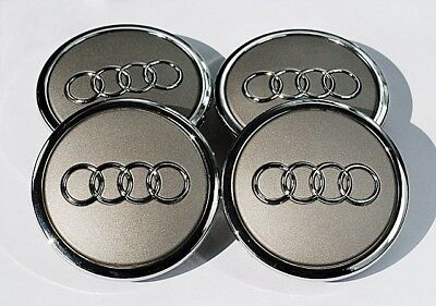 New Set Of 4 Wheel Center Hub Caps For Audi 69Mm 4B0601170A Gray Silver Grey