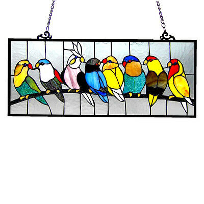 Stained Glass Panel For Windows Art Tiffany Style Decor Kitchen Hanging Bird NEW