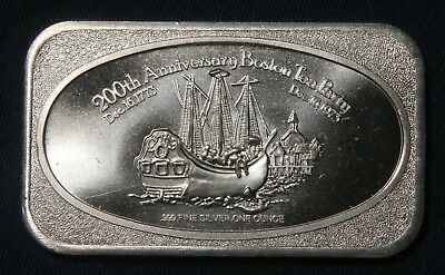 Boston Tea Party 1 Oz .999+ Silver Bar United States Silver Corp.  Lot 241040