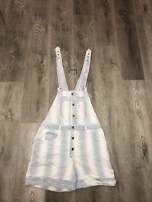 Women's Vintage Guess Jeans Denim Short Overalls Bleached Made USA Size Large
