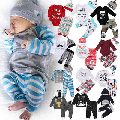 Newborn Baby Boys Girls Cotton Romper T-shirt Long Pants Outfit Set Clothes 0-2T