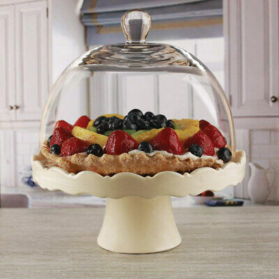 Circleware Dolche Torta Ceramic Cake Stand with Glass Dome, Cream, 11x12 Inches