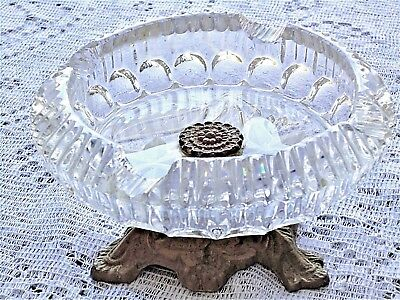Vtg Crystal Brass CIGAR ASHTRAY Ash Tray Etched Flower Old Hollywood Mid Century