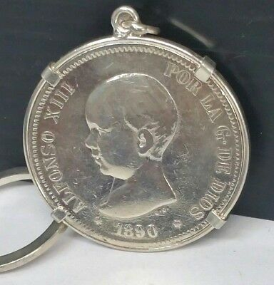 1890 Alfonso XIII 5 Pesetas Spanish Sterling Silver Coin and Kee Chain, Spain