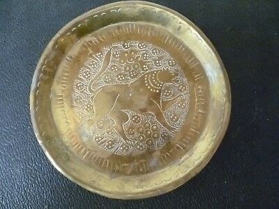 An Antique, Indian / Hindu, Mythical Beast Themed Brass Dish. Indian Brass Dish