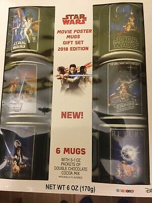 DISNEY STAR WARS SAGA COFFEE MUG CUP complete SET Of 6 Original Movie Poster Art