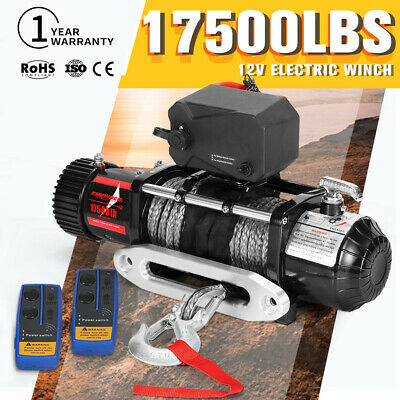 12V Wireless Electric Winch 17500LBS / 7938Kg 4WD 26M Synthetic Rope12Volt