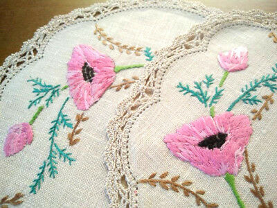 Pair - Pink Poppy/poppies  ~ Vintage Hand Embroidered Doilies