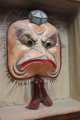 A Large Vintage Japanese Kappa Theatrical Mask in Wooden Case
