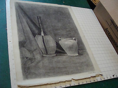 Original drawing by M A GAFFNEY: Still Life of WINE BOTTLE AND PITCHER