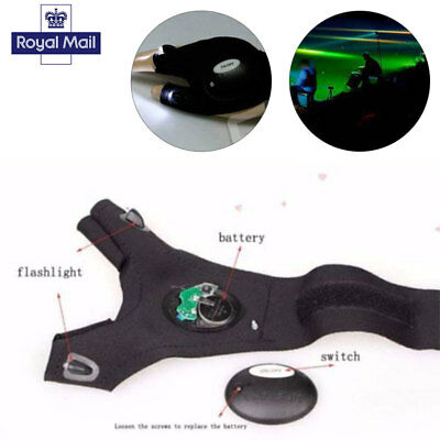 Flashlight Tool LED Fingerless Gloves Torch Camping Fishing Magic Strap Survival