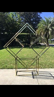 Vintage Brass Diamond Etagere Glass Shelf Shelves Mid Century Modern