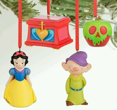 Disney Store Snow White and the Seven Dwarfs Sketchbook Mini Ornament Set New