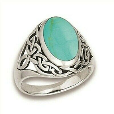 Sterling Silver Celtic Weave Turquoise Ring - Free Gift Packaging