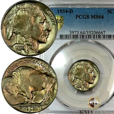 1934-D PCGS MS 64 Buffalo Nickel 5c Five Cent US COIN Item #19458A