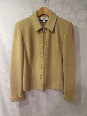 ST. JOHN COLLECTION Marie Gray Metallic Gold Full-Zip Jacket Size 6 Made in USA