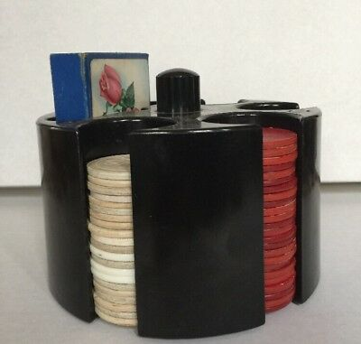 Vintage Retro Black Hard Plastic Poker Chip & Cards Holder with Chips & Cards