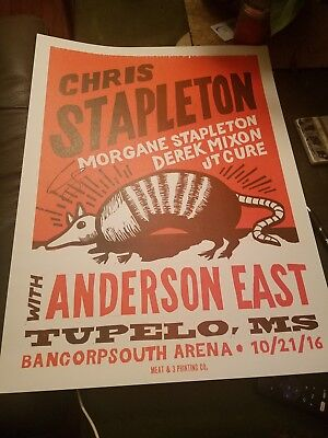 Chris Stapleton W/Anderson East Tupelo,MS Poster/lithograph AUTOGRAPHED