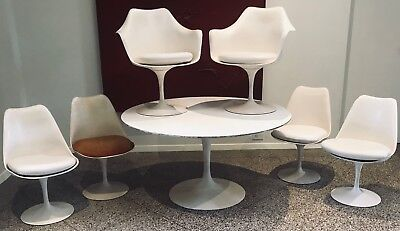 Authentic Saarinen Knoll Associates Tulip Table Dining Set with 6 Chairs