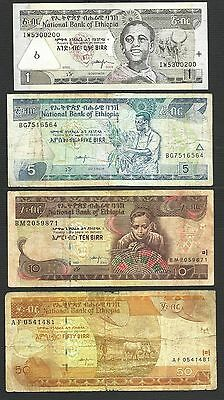 National Bank of Ethiopia Banknote - 1 5 10 50 Birr - 1992 2000 2008 - Lot of 4