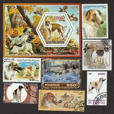 BORZOI **Int'l Dog Postage Stamp Collection**Great Gift Idea** Russian Wolfhound