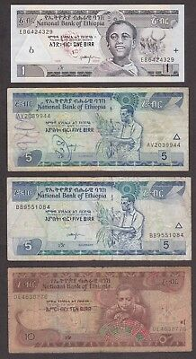 National Bank of Ethiopia Banknote - 1 5 5 10 Birr - 1995 1998 2000 - Lot of 4