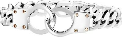 Police Connection Men's Silver Stainless Steel handcuffs Bracelet 25574BSS/01