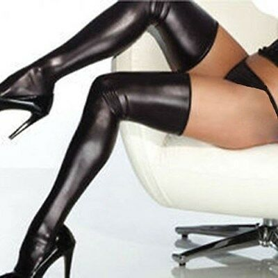 Lack Latex Strümpfe Stockings mit String Wetlook Neu Gr M Schwarz /X