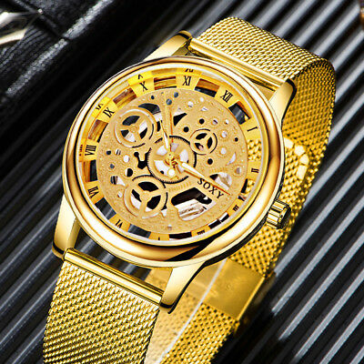 Fashion Mens Watch Luxury Hollow Stainless Steel Business Watches Unisex Gift VO