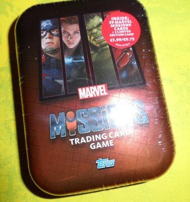 Topps Marvel Missions Sealed Tin With Ltd And 39 Cards.