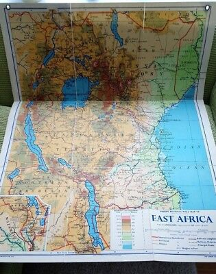 Philips Linen Backed Wall Map East Africa Regional 1960 School