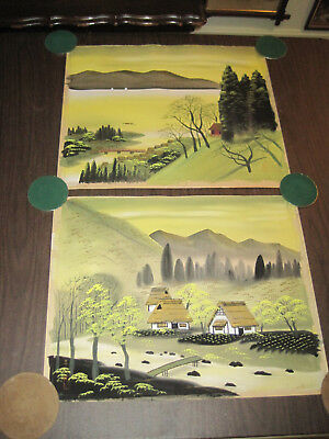Vintage Japanese silk or rice paper landscape painting, signed pair #1