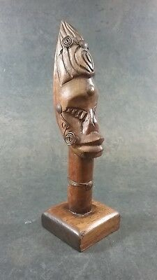 Vintage Hand Carved Tribal African American Woman Bust Figurine