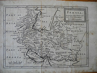 Herman Moll MAP OF PERSIA ACCORDING TO THE NEWEST AND MOST EXACT OBSERVATIONS